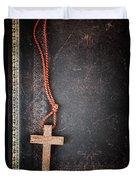 Christian Cross On Bible Duvet Cover by Elena Elisseeva