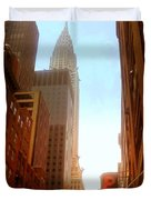 Chrysler Building Rises Above New York City Canyons Duvet Cover by Miriam Danar