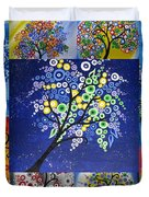 Circle Tree Collage Duvet Cover by Cathy Jacobs