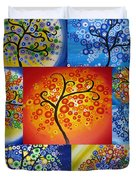 Circle Trees Duvet Cover by Cathy Jacobs