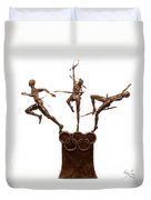 Citius Altius Fortius Oympic Art On White Duvet Cover by Adam Long