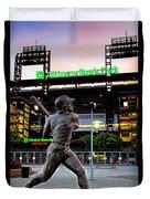 Citizens Bank Park - Mike Schmidt Statue Duvet Cover by Bill Cannon