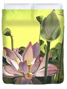 Citron Lotus 2 Duvet Cover by Debbie DeWitt