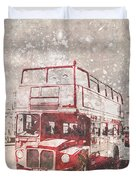 City-art London Red Buses II Duvet Cover by Melanie Viola
