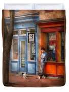 City - Baltimore Md - Waiting By Joe's Bike Shop  Duvet Cover by Mike Savad