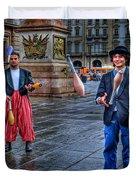 City Jugglers Duvet Cover by Ron Shoshani