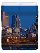city lights and blue hour at Tel Aviv Duvet Cover by Ron Shoshani