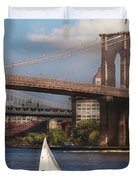 City - NY - Sailing under the Brooklyn Bridge Duvet Cover by Mike Savad