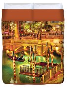 City - Vegas - Venetian - The Venetian At Night Duvet Cover by Mike Savad