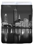 Cleveland Skyline at Dusk Black and White Duvet Cover by Jon Holiday