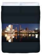 Cleveland Skyline At Dusk Duvet Cover by Jon Holiday