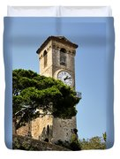 Clock Tower - Cannes - France Duvet Cover by Christine Till