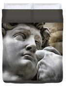 Close-up Face Statue Of David In Florence Duvet Cover by David Smith