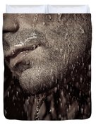 Closeup Of Mans Chin With Stubble Duvet Cover by Oleksiy Maksymenko