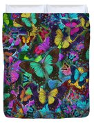 Cloured Butterfly Explosion Duvet Cover by Alixandra Mullins
