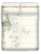 Coast Survey Map of Nantucket and the Davis Shoals Duvet Cover by Paul Fearn