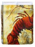 Coastal Lobster Decorative Painting Original Art Coastal Luxe Lobster By Madart Duvet Cover by Megan Duncanson