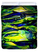 Cobalt Blue And Yellow Glass Macro Abstact Duvet Cover by David Patterson