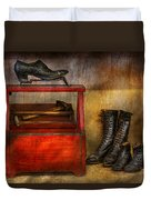Cobbler - Life Of The Cobbler Duvet Cover by Mike Savad