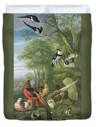 Cock Pheasant Hen Pheasant And Chicks And Other Birds In A Classical Landscape Duvet Cover by Pieter Casteels