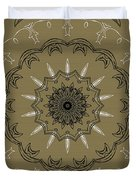 Coffee Flowers 3 Olive Ornate Medallion Duvet Cover by Angelina Vick