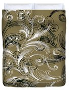 Coffee Flowers 4 Olive Duvet Cover by Angelina Vick