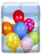 Colorful Balloons With Blue Sky Duvet Cover by Elena Elisseeva
