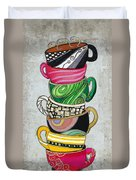 Colorful Coffee Cups Mugs Hot Cuppa Stacked II By Romi And Megan Duvet Cover by Megan Duncanson