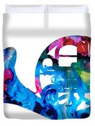 Colorful French Horn 2 - Cool Colors Abstract Art Sharon Cummings Duvet Cover by Sharon Cummings