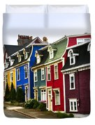 Colorful houses in Newfoundland Duvet Cover by Elena Elisseeva