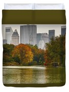 Colorful Magic In Central Park New York City Skyline Duvet Cover by Silvio Ligutti