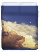 Colorful Orange Magenta Storm Clouds Moon At Sunset Duvet Cover by Keith Webber Jr