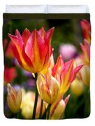 Colorful Tulips Duvet Cover by Rona Black
