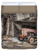 Comfortable Chaos - Old Tractor At Rest - Agricultural Machinary - Old Barn Duvet Cover by Gary Heller