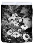 Coneflowers Echinacea Rudbeckia Bw Duvet Cover by Rich Franco