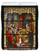 Consecration Of St Augustine Stained Glass Window Duvet Cover by Christine Till