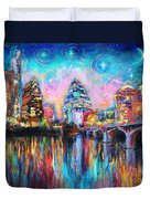 Contemporary Downtown Austin Art Painting Night Skyline Cityscape Painting Texas Duvet Cover by Svetlana Novikova