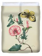 Convolvulus With Yellow Butterfly Duvet Cover by English School