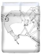 Cool Bmx Drawing Duvet Cover by Mike Jory