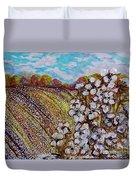 Cotton Fields In Autumn Duvet Cover by Eloise Schneider
