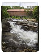 Covered Bridge And Waterfall Duvet Cover by Edward Fielding