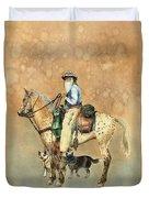 Cowboy And Appaloosa Duvet Cover by Nan Wright
