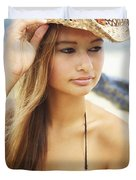 Cowboy Hat at the Beach Duvet Cover by Kicka Witte