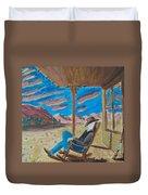 Cowboy Sitting In Chair At Sundown Duvet Cover by John Lyes