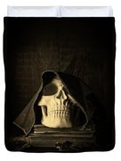 Creepy Hooded Skull Duvet Cover by Edward Fielding