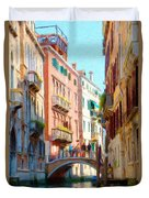 Crossing The Canal Duvet Cover by Jeff Kolker