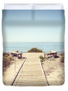 Crystal Cove Overlook Retro Picture Duvet Cover by Paul Velgos