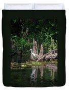 Crystal River Egret Duvet Cover by Skip Willits