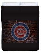 Cubs Baseball Graffiti On Brick  Duvet Cover by Movie Poster Prints