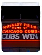 Cubs Win Duvet Cover by Steve Gadomski